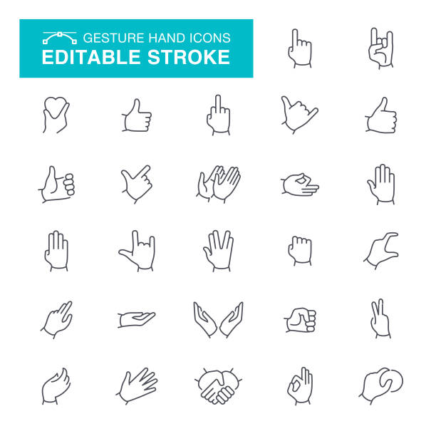 stockillustraties, clipart, cartoons en iconen met gebaar bewerkbare beroerte pictogrammen - hands