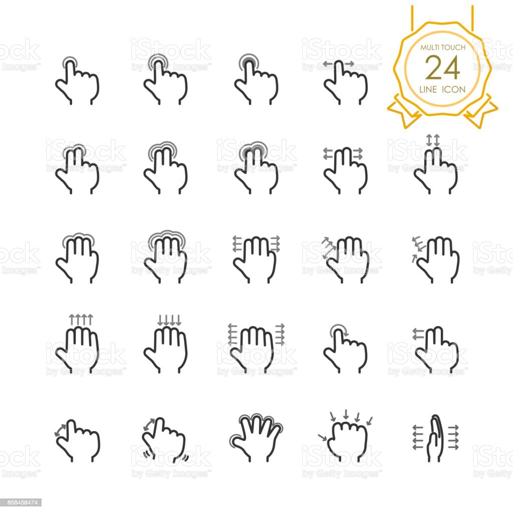 Gesture hand set of multi touch line icon for touch screen devices, tablet, touchpad or mobile, simple finger symbol to swipe, scroll, tap, zoom, push. Vector illustration (Editable Stroke) vector art illustration