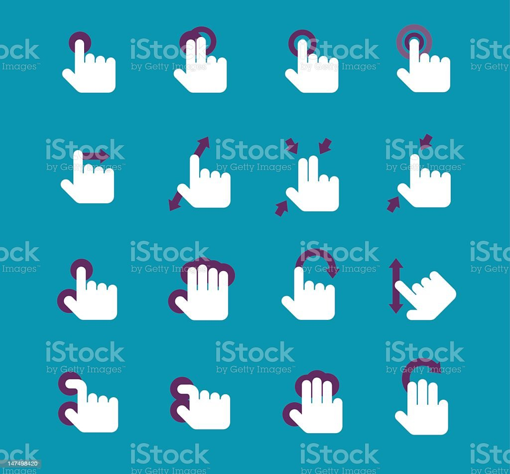 Gesture icon set royalty-free stock vector art
