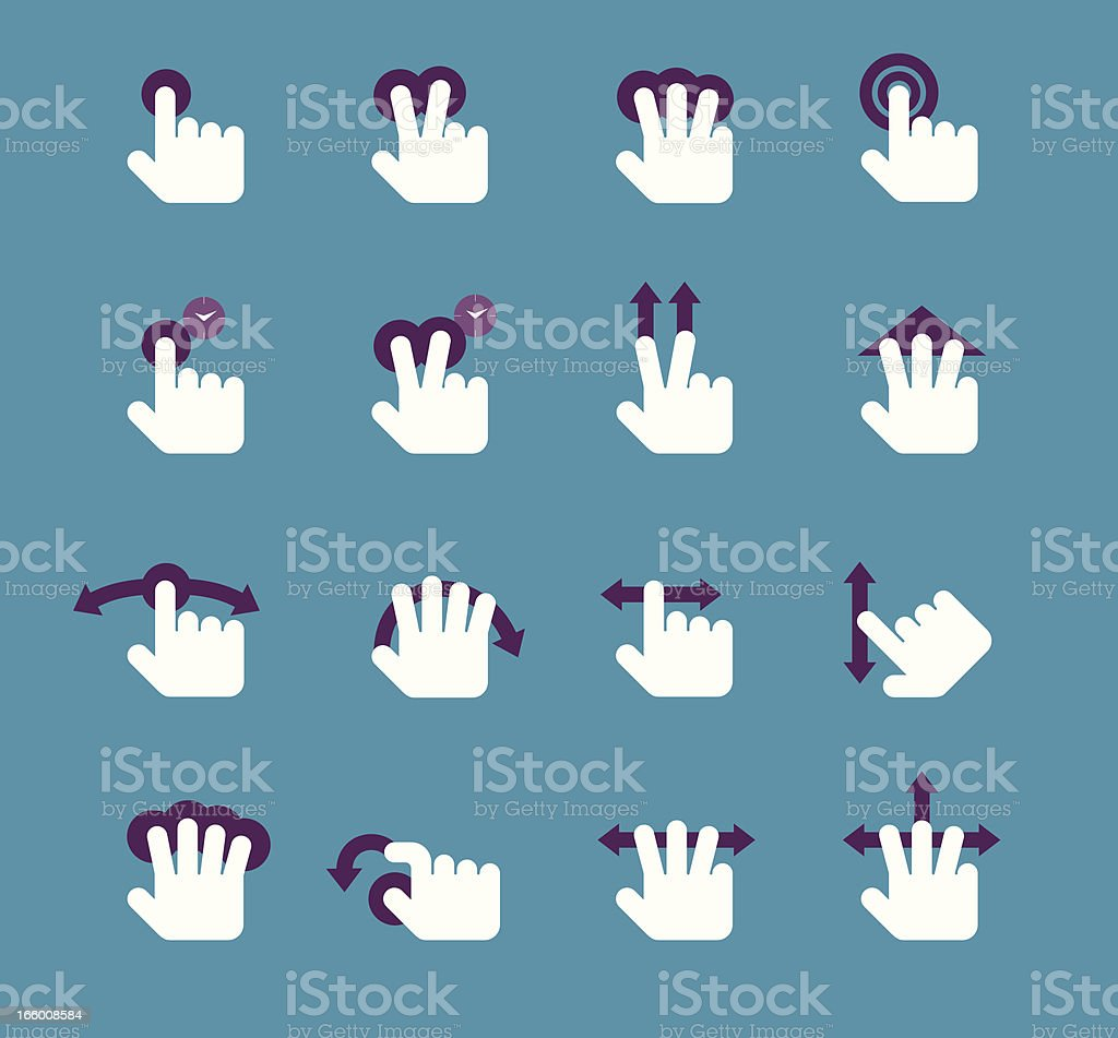 Gesture Icon set vector art illustration