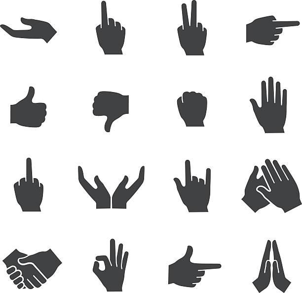 ilustraciones, imágenes clip art, dibujos animados e iconos de stock de acme serie iconos-gesto - middle finger