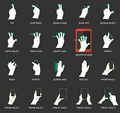 Gesture icons for touch devices - Illustration