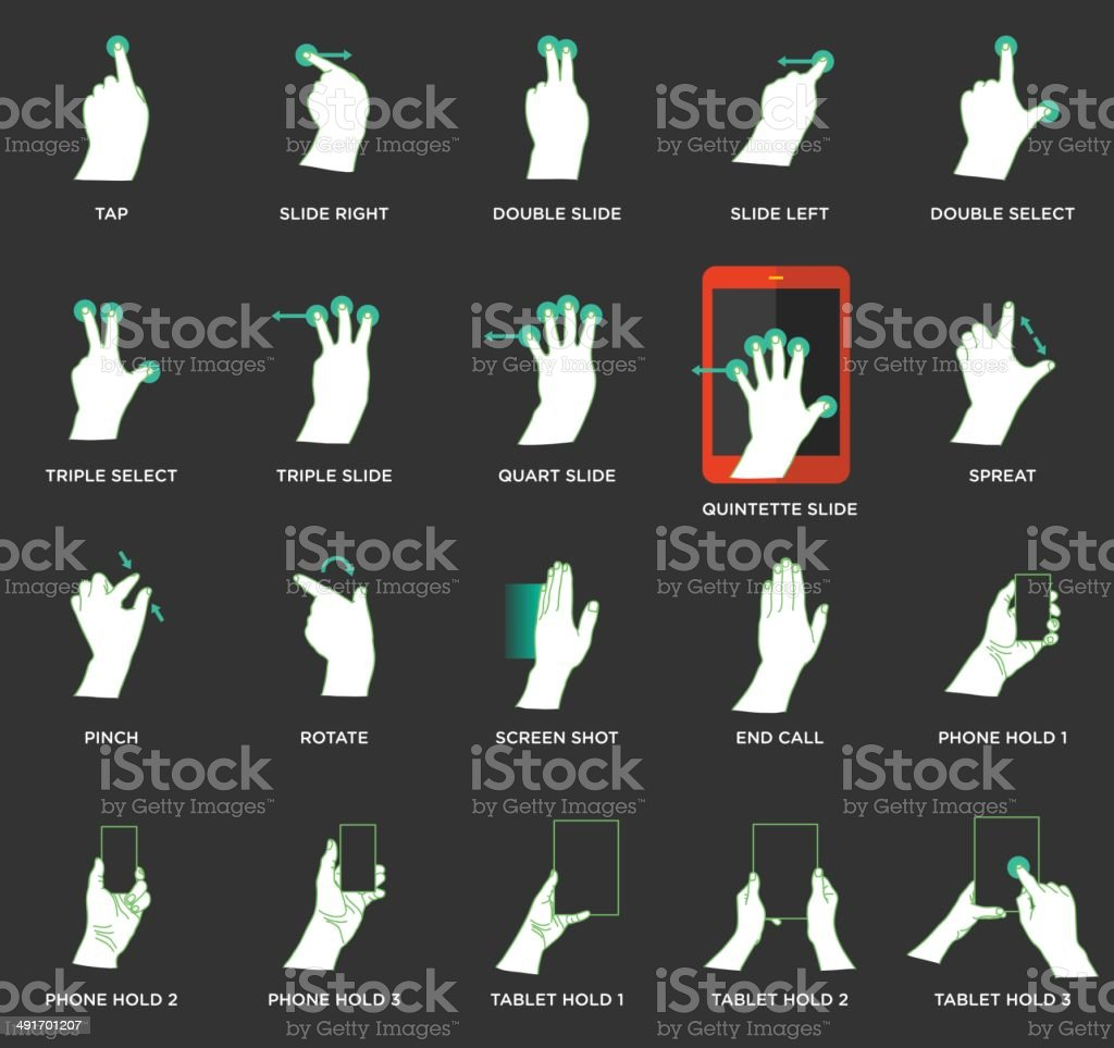 Gesture icons for touch devices - Illustration vector art illustration