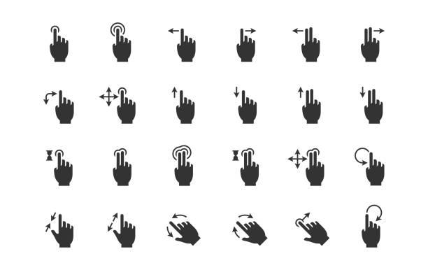 ilustraciones, imágenes clip art, dibujos animados e iconos de stock de gesto de iconos de dispositivos de contacto - zoom call