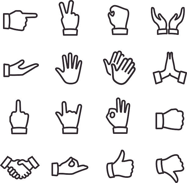 Gesture Icons - Line Series View All: human finger stock illustrations
