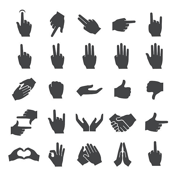 stockillustraties, clipart, cartoons en iconen met gesture icons set - smart series - swearing
