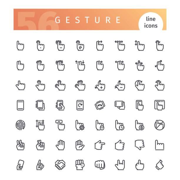 ilustraciones, imágenes clip art, dibujos animados e iconos de stock de conjunto de iconos de línea gesto - zoom call