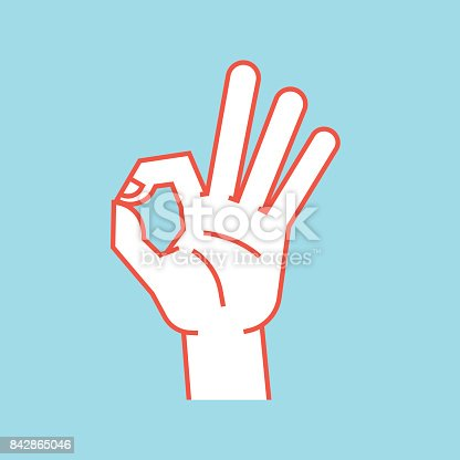 Gesture. Okay sign. Stylized hand with index and thumb making circle, other fingers up. Icon. Vector illustration on a blue background. Ok. Orange lines and white silhouette. symbol.