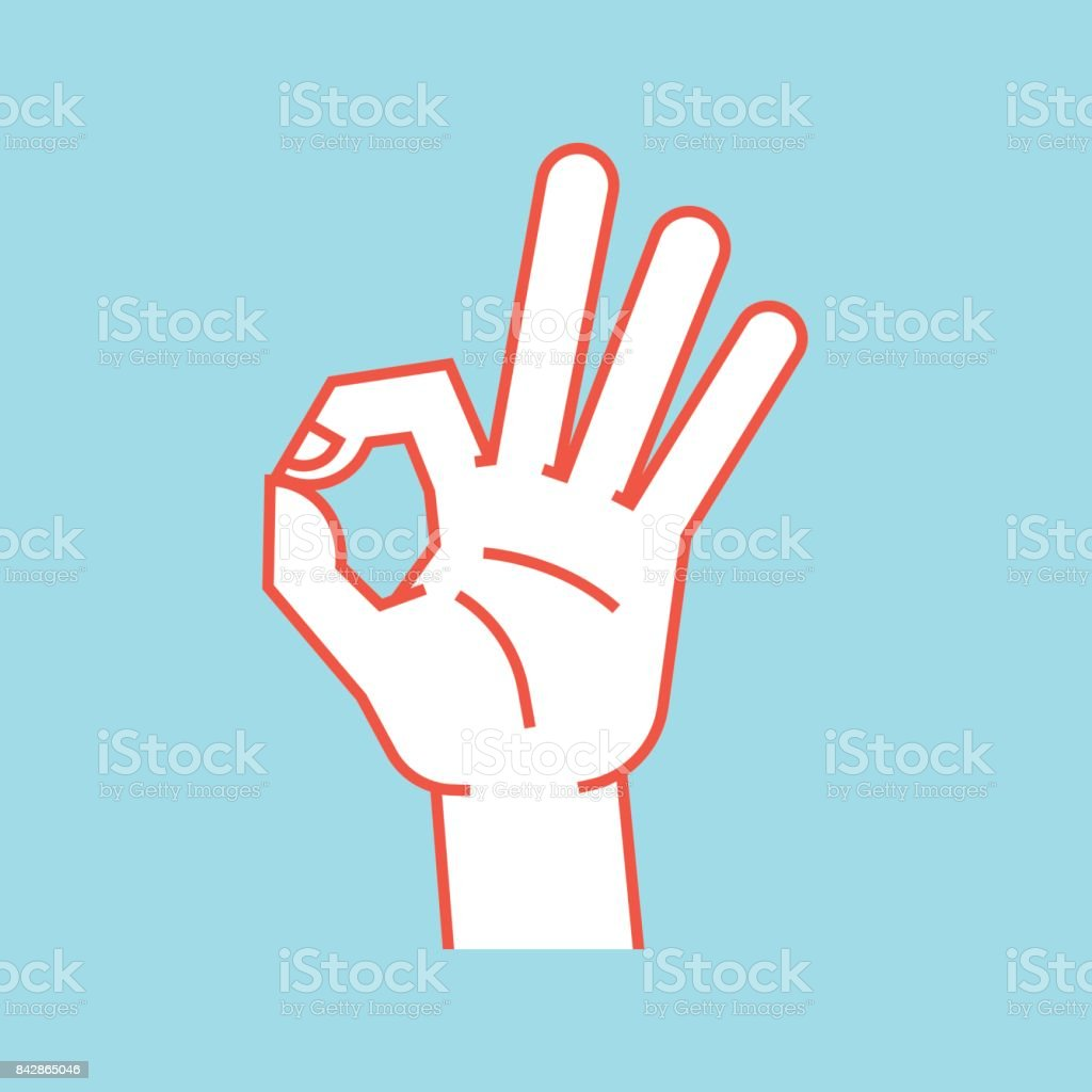 Gesture. Okay sign. Stylized hand with index and thumb making circle, other fingers up. Icon. vector art illustration