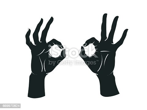 Gesture. Okey sign. Two female hands with index and thumb making circle, other fingers up. Vector illustration in sketch style isolated on a white background. Making agree signal by hands. White lines and dark grey silhouette.