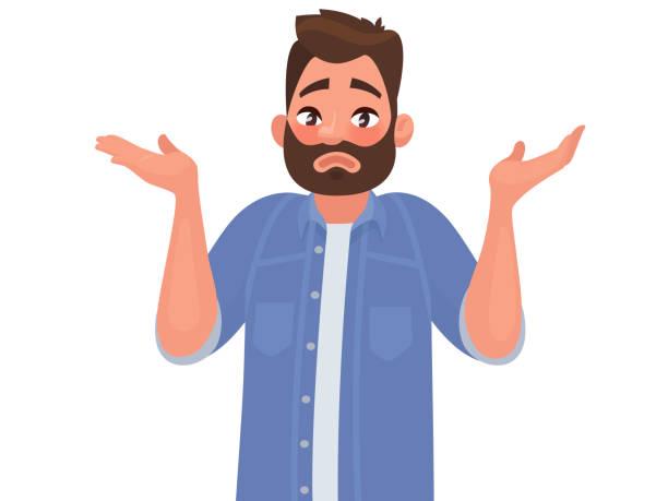 手勢哎呀, 對不起或我不知道。那人聳聳肩, 攤開雙手。向量插圖 - 不確定 幅插畫檔、美工圖案、卡通及圖標