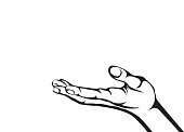 Gesture open palm. Hand gives or receives. Contour graphic style. Black and white. Vector illustration on white background. Empty space for advertising