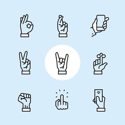 Gesture - outline icon set