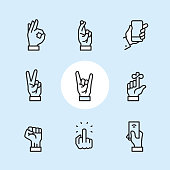 Gesture - outline icon set