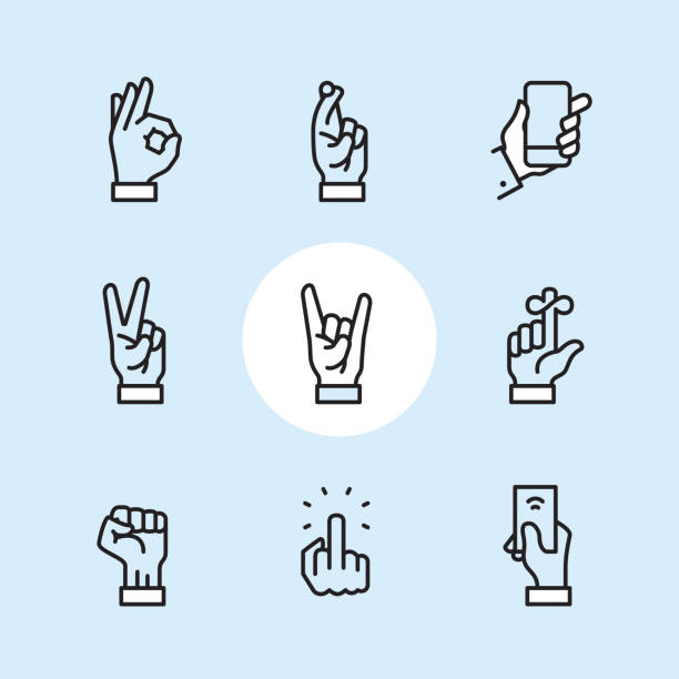 Gesture - outline icon set vector art illustration
