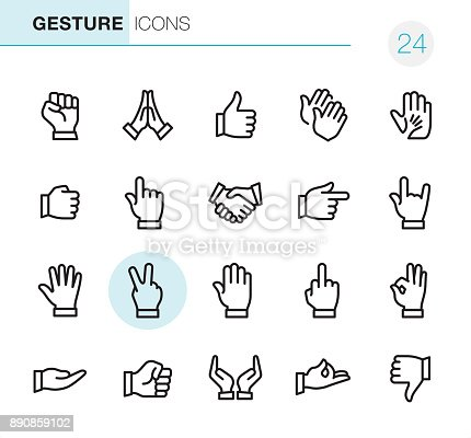 20 Outline Style - Black line - Pixel Perfect Gesture icon / Set #24
