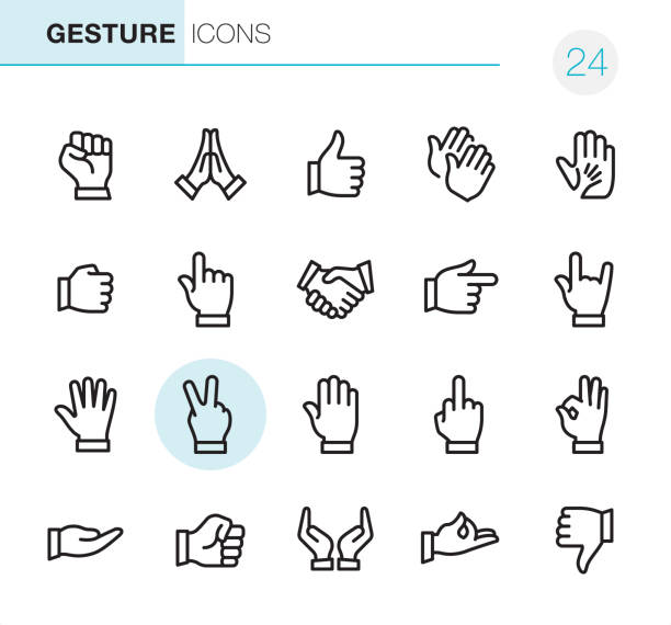 stockillustraties, clipart, cartoons en iconen met gebaar - pixel perfect iconen - hands