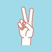Gesture. Stylized hand in the form of V letter. Victory. Icon.