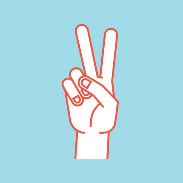 Gesture. Stylized hand in the form of V letter. Victory. Icon. Gesture. Stylized hand in the form of V letter. Victory. Icon. Vector illustration on a blue background. Index and middle fingers up. Making peace sign. Orange lines, white silhouette. symbols of peace stock illustrations