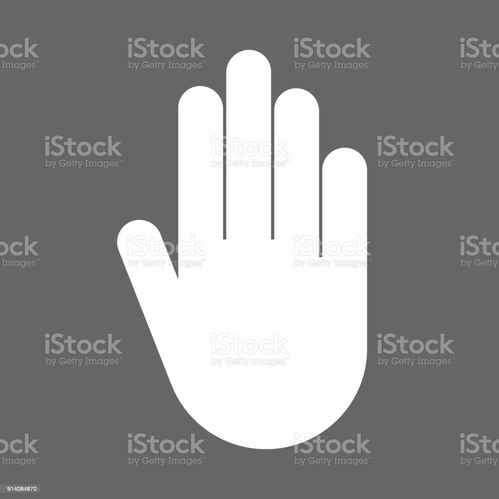 Stop Hand Gesture Symbol Vector Icon Stock Vector Art More Images