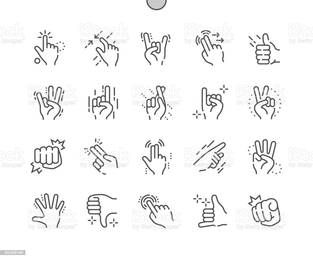 Gesture Well-crafted Pixel Perfect Vector Thin Line Icons 30 2x Grid for Web Graphics and Apps. Simple Minimal Pictogram vector art illustration
