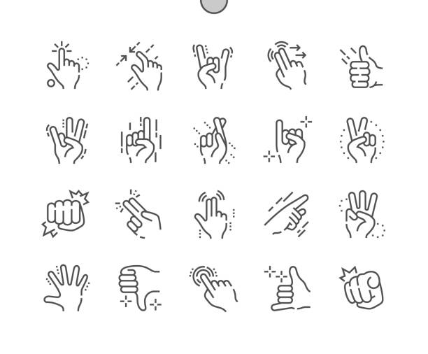 geste gut gemachte pixel perfekte vektor dünne linie symbole 30 2 x grid für web-grafiken und apps. einfach nur minimale piktogramm - gestikulieren stock-grafiken, -clipart, -cartoons und -symbole