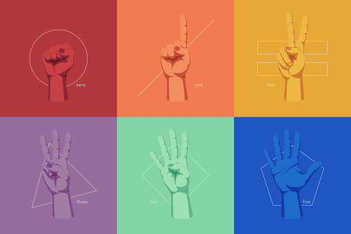 Gestures and signs with human hands, finger counting on the background of geometric shapes, color vector illustration