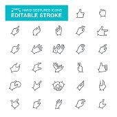 Thumbs Up, Handshake, Human Hand, Hand Sign, Peace Sign, Editable Stroke Icon Set