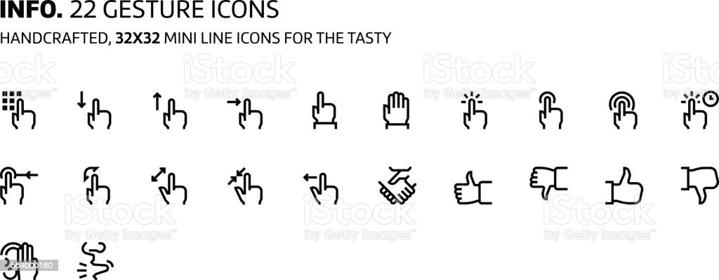 Gestures mini line, illustrations, icons vector art illustration