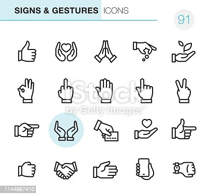 20 Outline Style - Black line - Pixel Perfect icons / Hand Signs and Gestures Set #91 / Icons are designed in 48x48pх square, outline stroke 2px.  First row of outline icons contains:  Thumbs Up, Heart in Human Hands, Praying icon, Hand giving coins, Holding a Sprout;  Second row contains:  OK Sign, Obscene Gesture, High Five, Pointing, Peace Sign - Gesture;  Third row contains:  Directing, Hands Cupped, Credit Card Payment, Heart in Human Hand, Gun Sign;   Fourth row contains:  Fist icon, Handshake, High - Five, Holding Mobile Phone, Smart Hand Watch.  Complete Primico collection - https://www.istockphoto.com/collaboration/boards/NQPVdXl6m0W6Zy5mWYkSyw