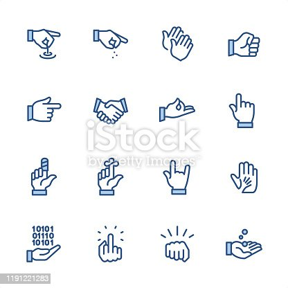 16 indigo and blue Gesturing and Hand Signs icon set #84 Pixel perfect icon 48x48 pх, outline stroke 2 px.  First row of  icons contains: Hand Pulling a String, Sprinkling Hand, Reminder, Fist;  Second row contains:  Gun Sign, Handshake, Zen-like gesture, Pointing;  Third row contains:  Bandaged Finger, Reminder, Horn Sign, A Helping Hand;   Fourth row contains:  Coding Hand Gesture, Obscene Gesture, Fist icon, Receiving Hand.  Complete Indigico collection - https://www.istockphoto.com/collaboration/boards/t5bVQfKvf0a-h6WHcFLuIg