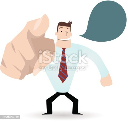Vector illustration – A businessman ( teacher ) smiling and pointing at you.