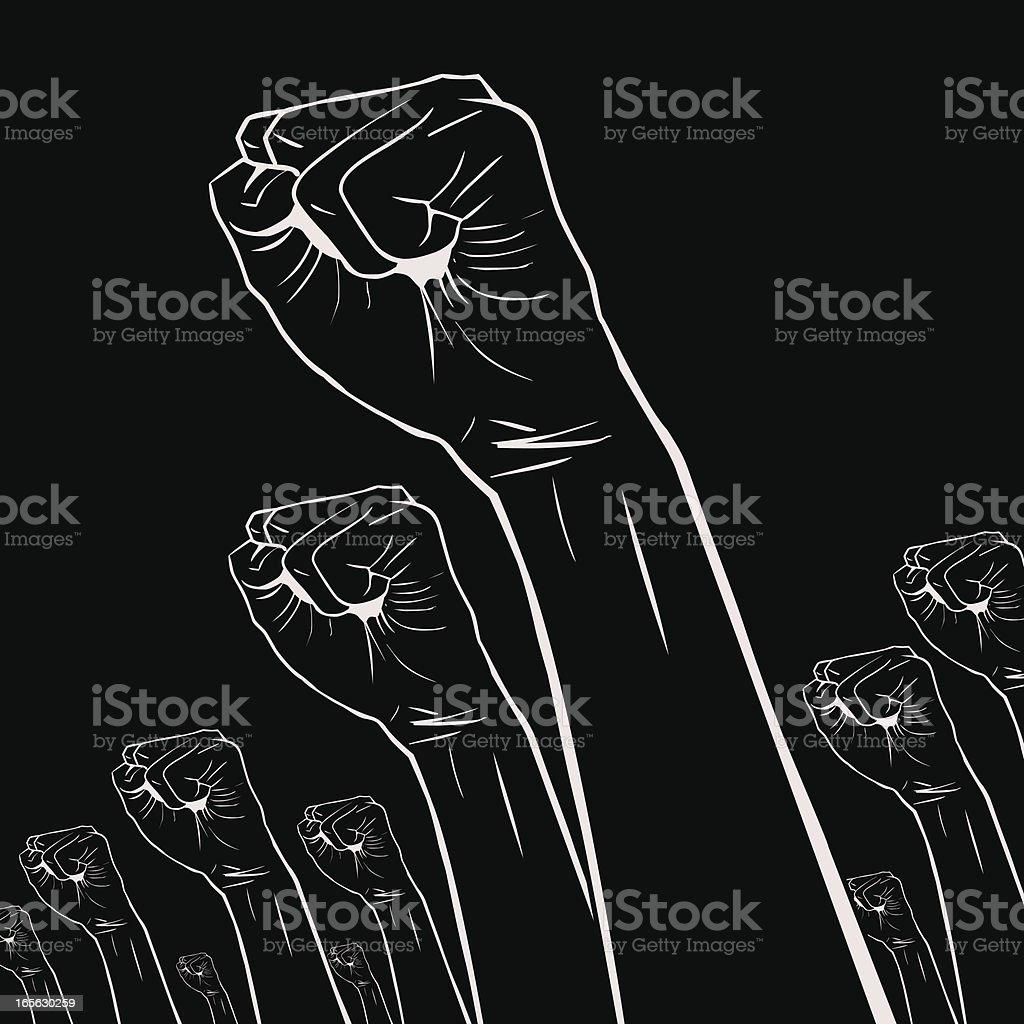 Gesticular mão sinal (): Clenched fists mantidos elevados em protesto - ilustração de arte vetorial