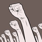 Vector illustration of Clenched fists held high in protest.
