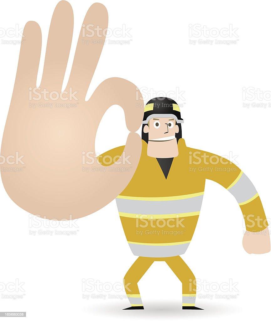 Manos Gesticular (señal): Bombero mostrando OK! (No hay problema! No se preocupe). - ilustración de arte vectorial