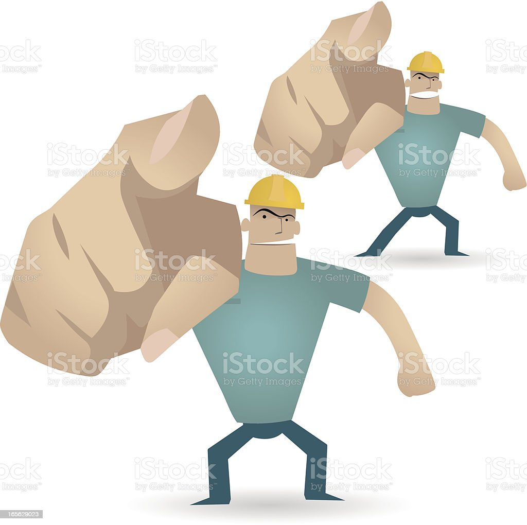 Gesturing(Hand Sign): Foreman(workman) pointing at you. Under Construction ( watch out ) royalty-free stock vector art