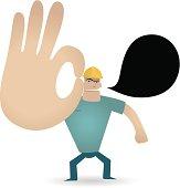 Vector illustration – Gesturing(Hand Sign): Foreman showing ok gesture.