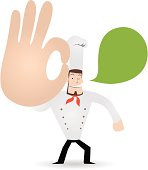 Vector Icon Set: Chef carrying a plate of a lot of fruits and vegetables.