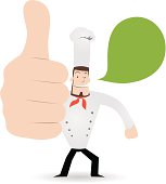 Vector illustration –Gesturing(Hand Sign): Happy chef showing thumbs up.