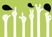 Vector illustration of Hand Sign ( Gesturing ). Created with adobe illustrator.