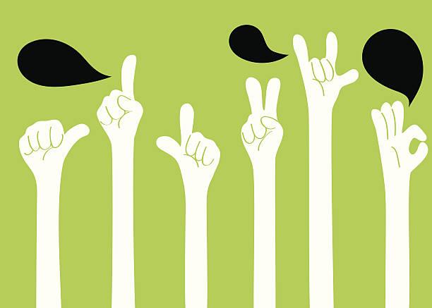 stockillustraties, clipart, cartoons en iconen met gesturing(hand sign): i love you, ok, good, one, two, ya! - gebaren