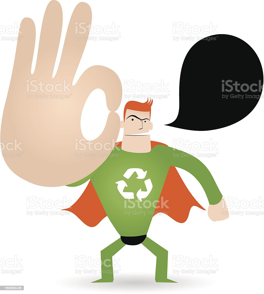 Gesturing(Hand Sign): Superhero showing ok gesture royalty-free stock vector art