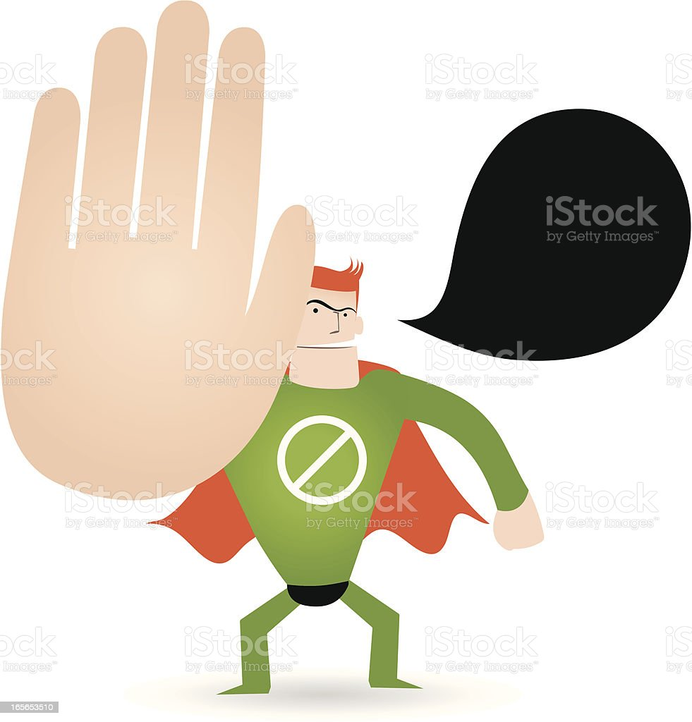 Gesturing(Hand Sign): Superhero showing Stop! ( Hold On! No! Keep out! ) royalty-free gesturing stock vector art & more images of a helping hand