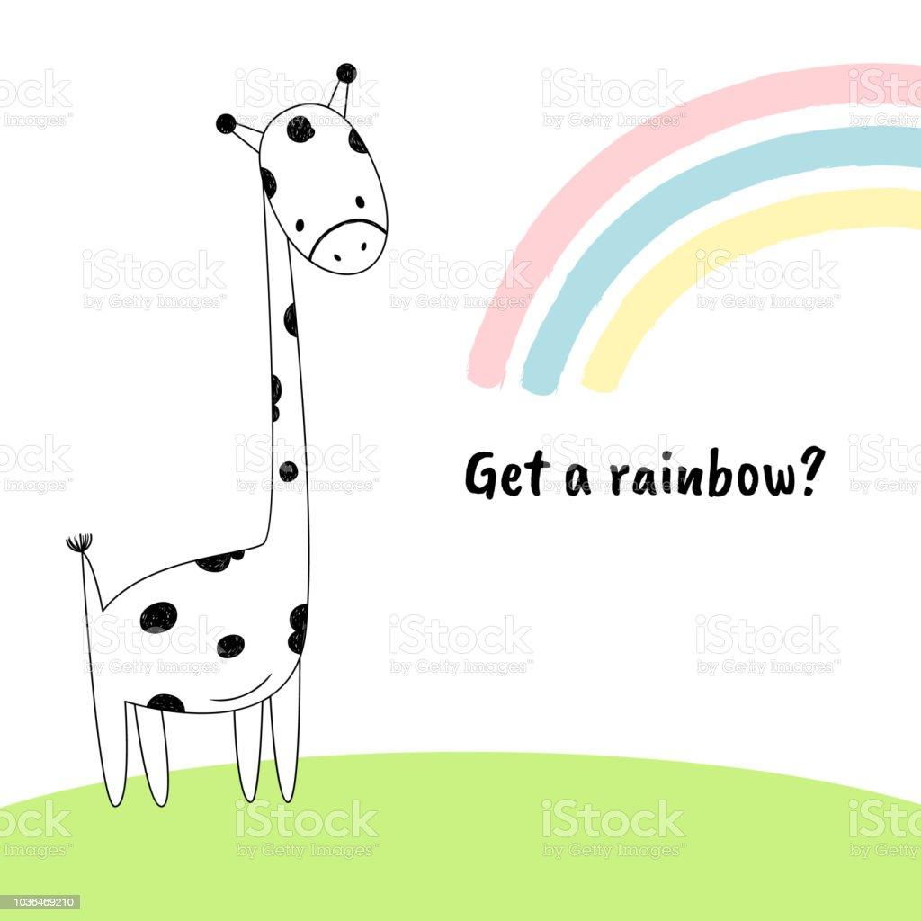 Bekommen Sie Einen Regenbogen Vektorillustration Einer Giraffe Die