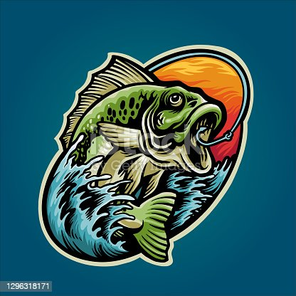 Get Bass Fishing Mascot Summer Graphic Design illustrations for your work Logo, mascot merchandise t-shirt, stickers and Label designs, poster, greeting cards advertising business company or brands.