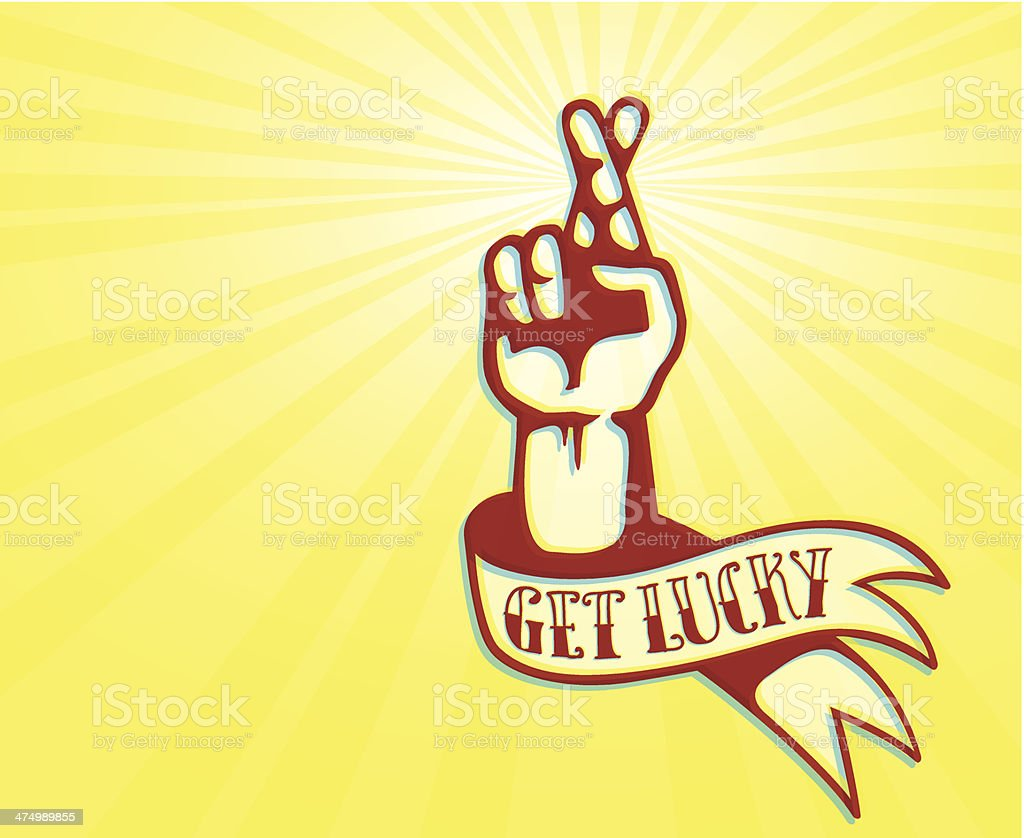 Get Lucky: Tattoo design of hand with crossed fingers royalty-free stock vector art