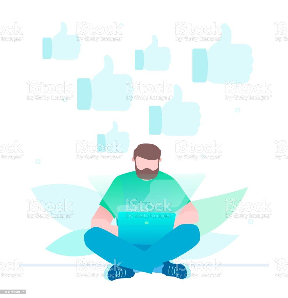 Get more likes - flat design style illustration vector art illustration
