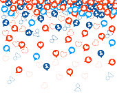 Get more likes. Red and blue icons falling. SEO concept. Design elements for social network,marketing. Vector illustration on white background. Web site page and mobile app design