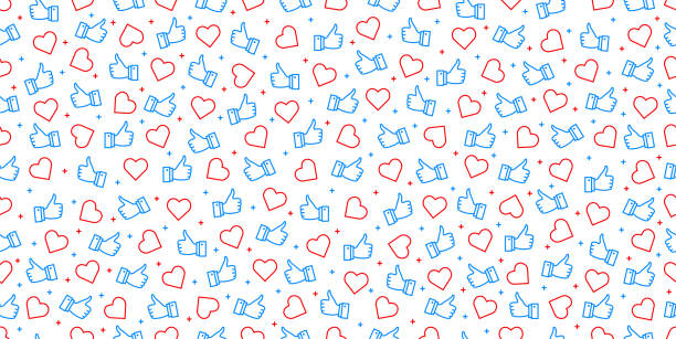 get more likes seamless background. stylish social for media concept. - sieć społeczna stock illustrations