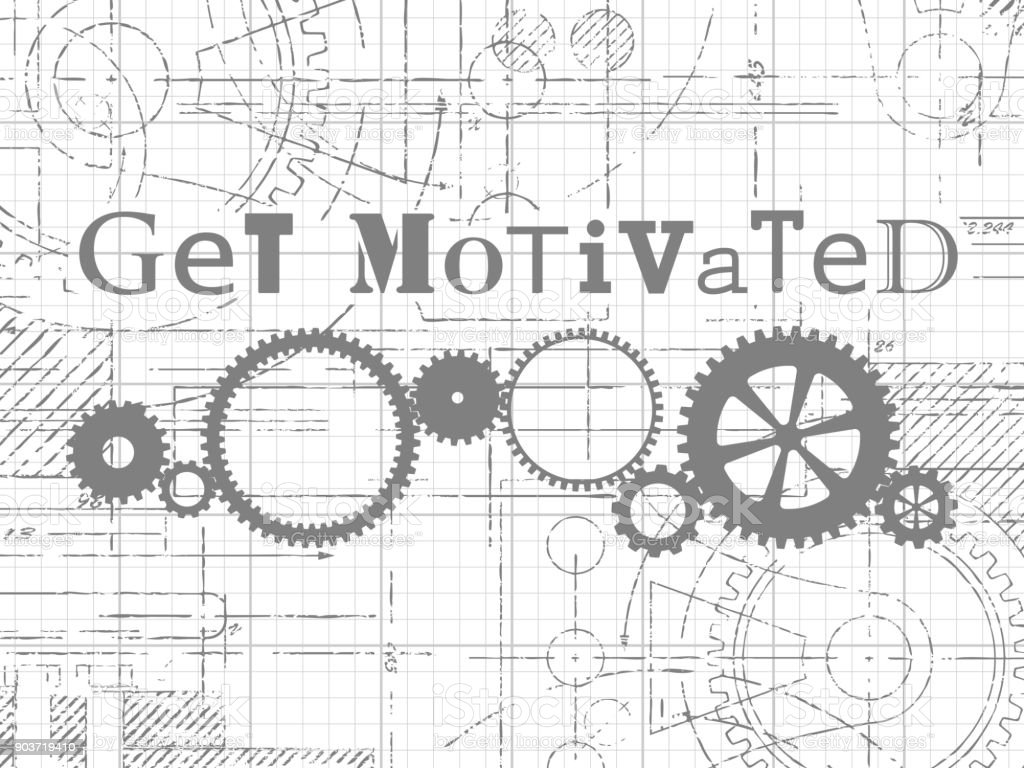 Get Motivated Graph Paper Technical Drawing vector art illustration